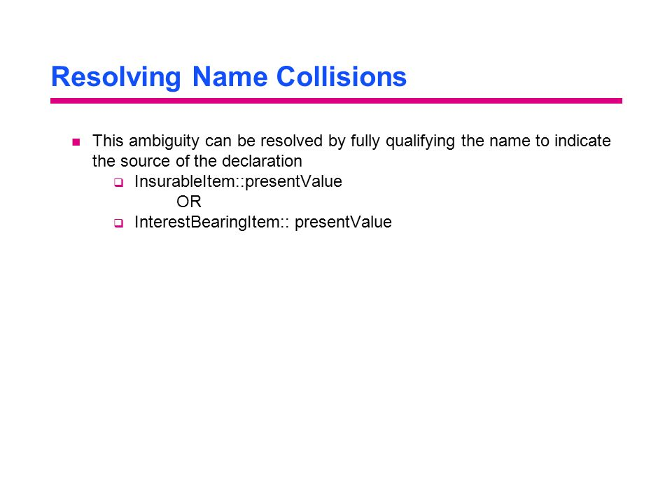 Resolving Name Collisions