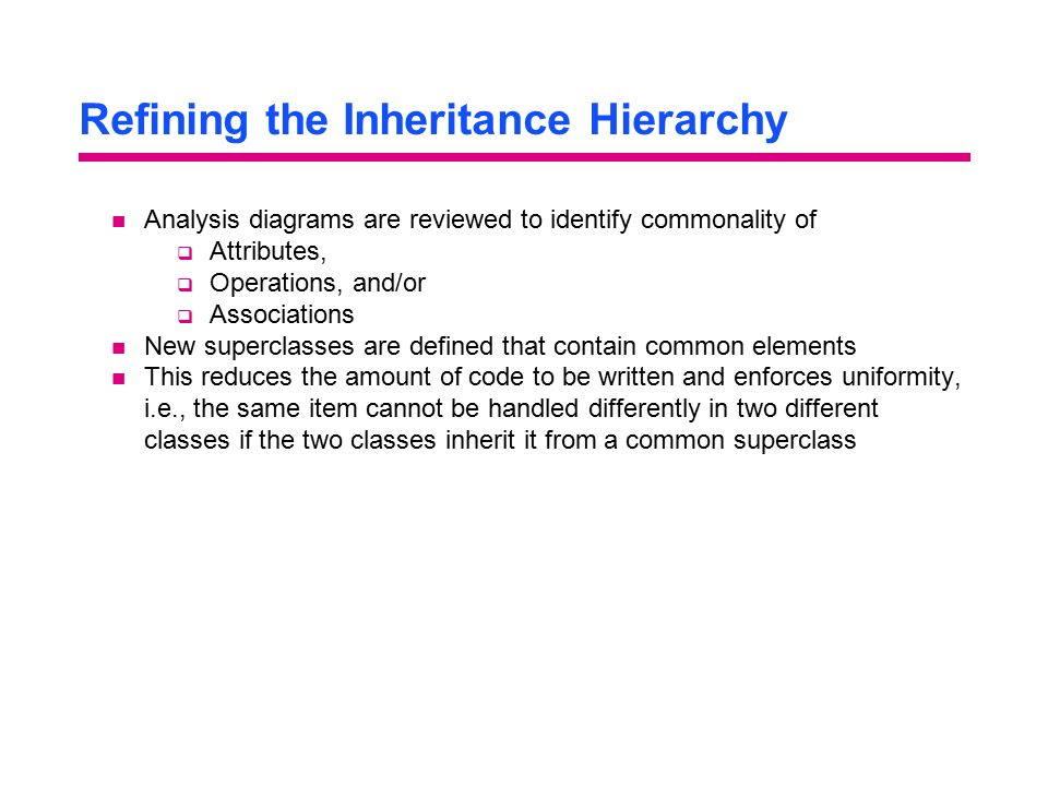 Refining the Inheritance Hierarchy