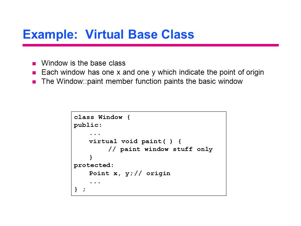 Example: Virtual Base Class