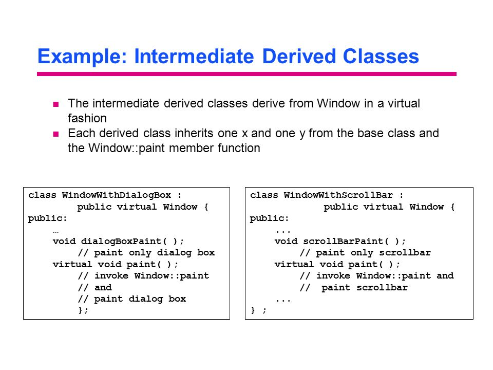Example: Intermediate Derived Classes