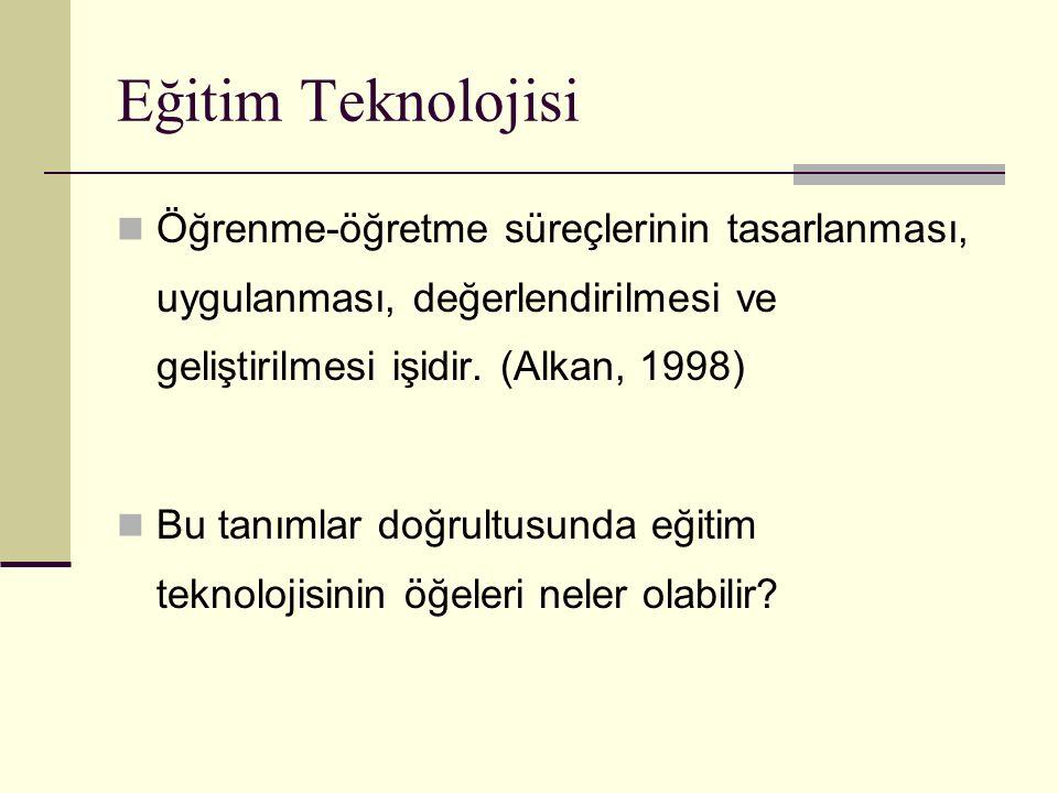 Eğitim Teknolojisi Öğrenme-öğretme süreçlerinin tasarlanması, uygulanması, değerlendirilmesi ve geliştirilmesi işidir. (Alkan, 1998)