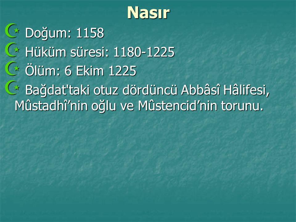 Nasır Doğum: 1158 Hüküm süresi: 1180-1225 Ölüm: 6 Ekim 1225