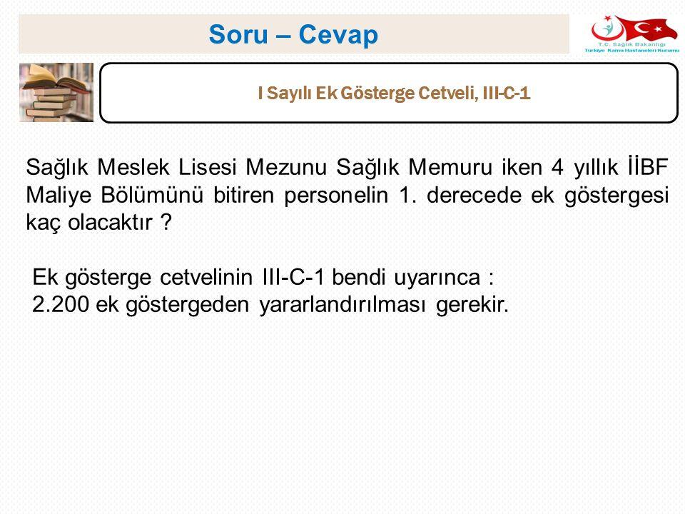 I Sayılı Ek Gösterge Cetveli, III-C-1