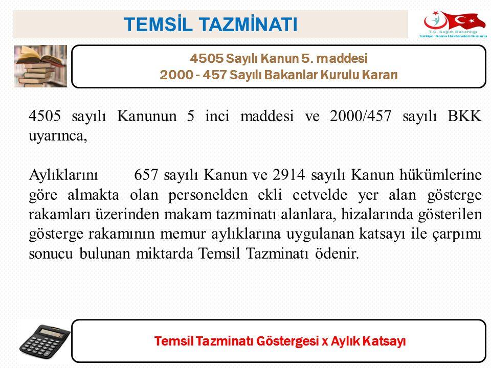 TEMSİL TAZMİNATI 4505 Sayılı Kanun 5. maddesi. 2000 - 457 Sayılı Bakanlar Kurulu Kararı.