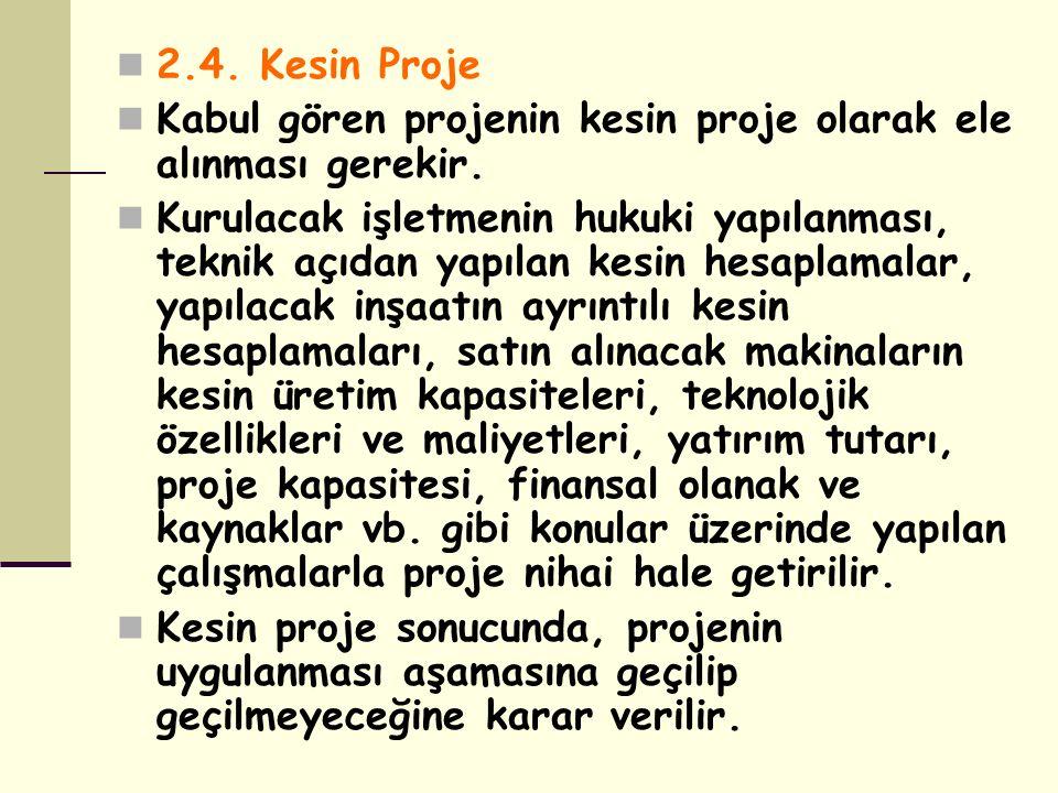 2.4. Kesin Proje Kabul gören projenin kesin proje olarak ele alınması gerekir.