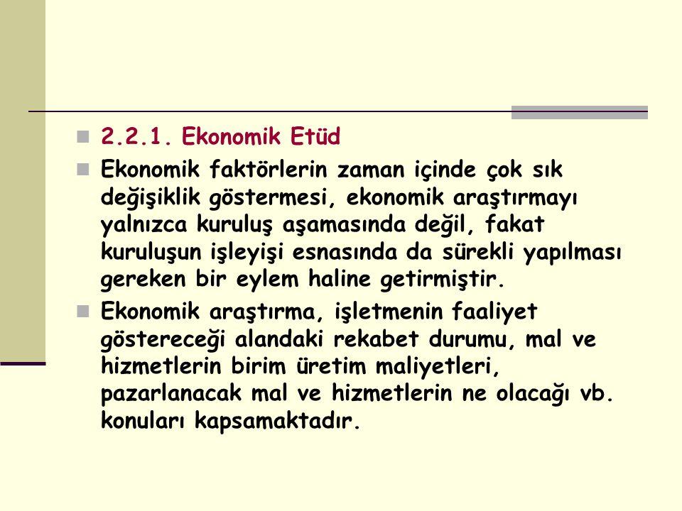 2.2.1. Ekonomik Etüd