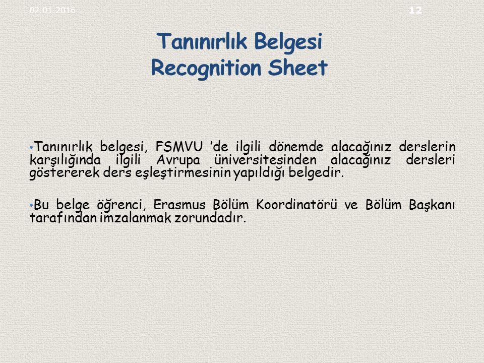 Tanınırlık Belgesi Recognition Sheet