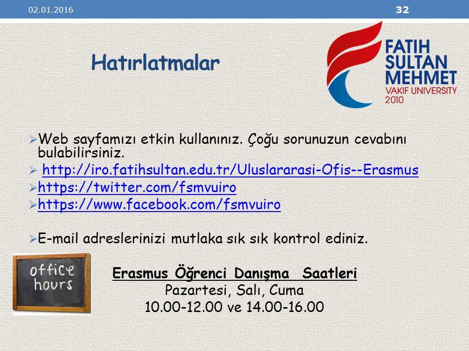 Erasmus Öğrenci Danışma Saatleri