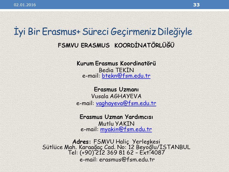 İyi Bir Erasmus+ Süreci Geçirmeniz Dileğiyle