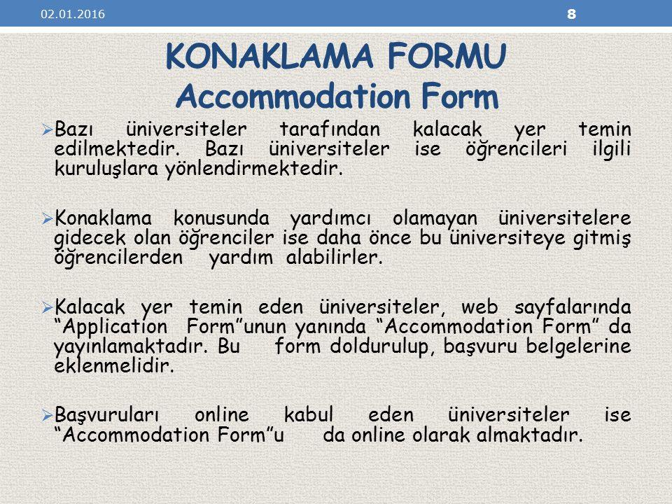 KONAKLAMA FORMU Accommodation Form