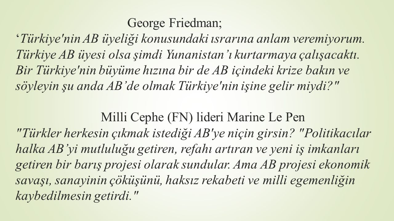 George Friedman; 'Türkiye nin AB üyeliği konusundaki ısrarına anlam veremiyorum.