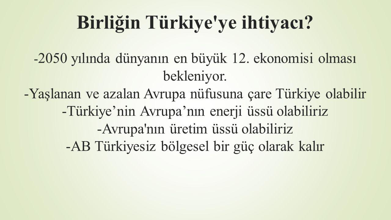 Birliğin Türkiye ye ihtiyacı. -2050 yılında dünyanın en büyük 12