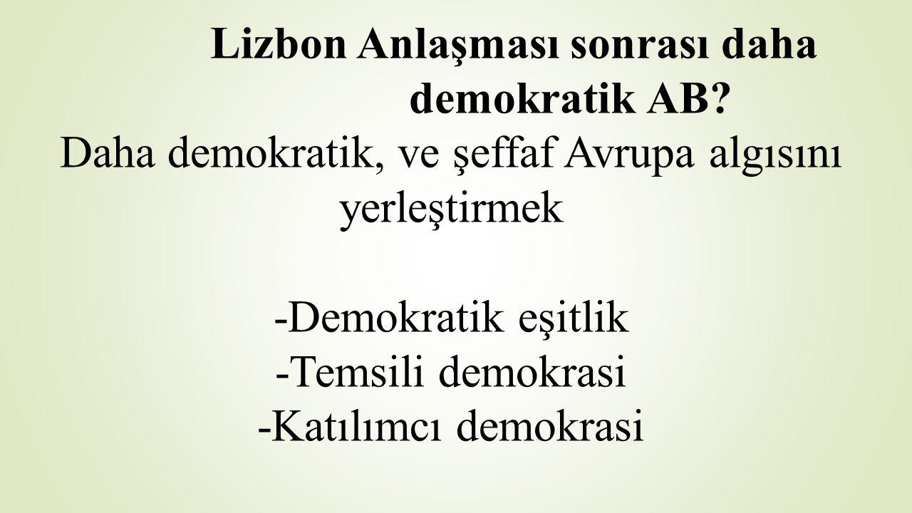 Lizbon Anlaşması sonrası daha demokratik AB