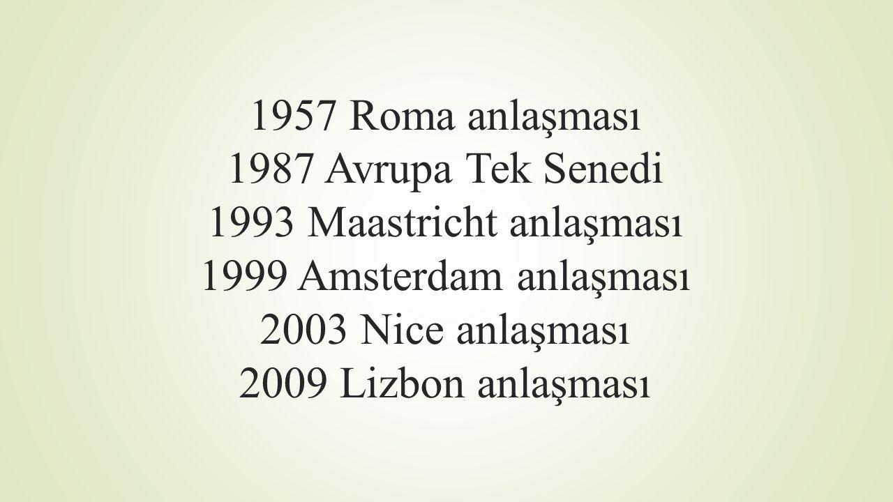 1957 Roma anlaşması 1987 Avrupa Tek Senedi 1993 Maastricht anlaşması 1999 Amsterdam anlaşması 2003 Nice anlaşması 2009 Lizbon anlaşması