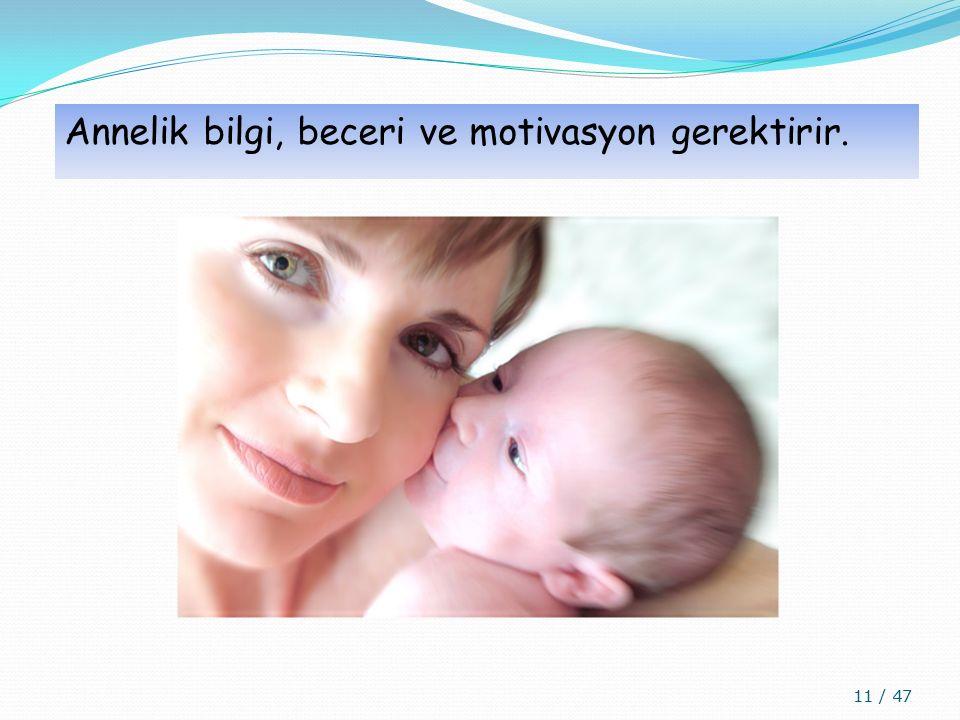 Annelik bilgi, beceri ve motivasyon gerektirir.
