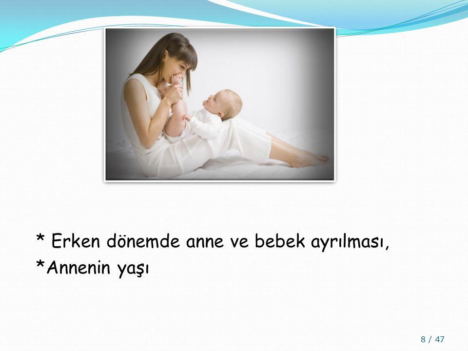 * Erken dönemde anne ve bebek ayrılması, *Annenin yaşı