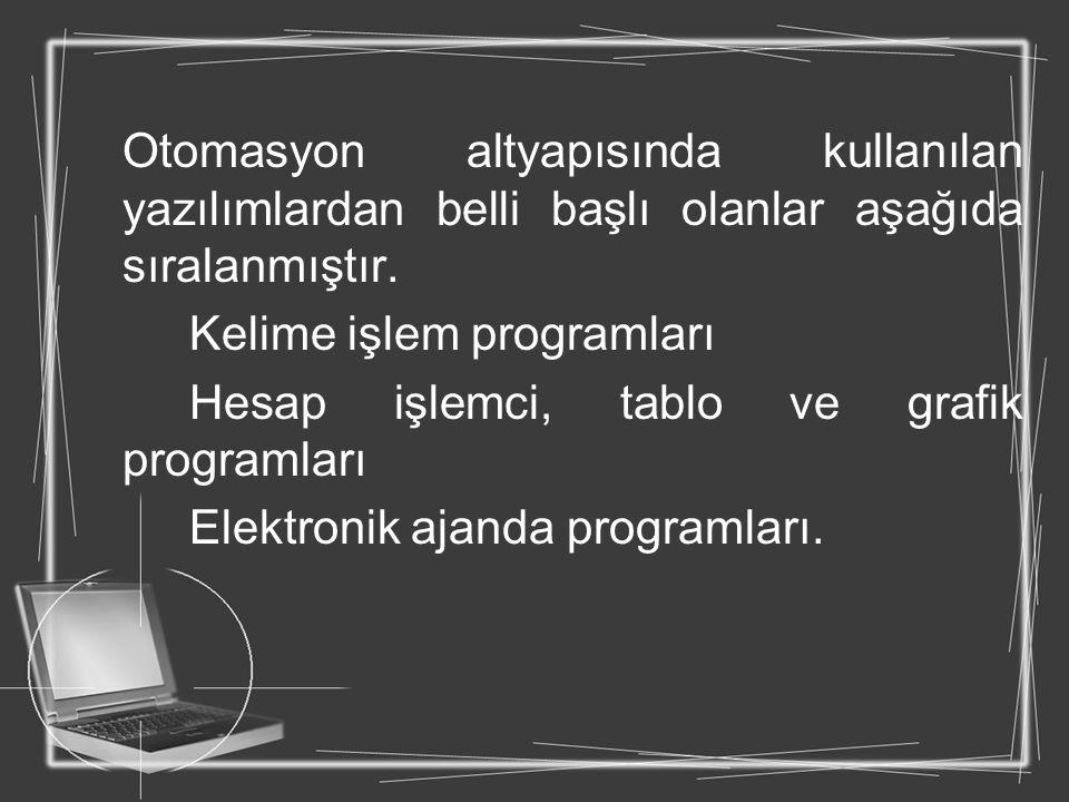 Otomasyon altyapısında kullanılan yazılımlardan belli başlı olanlar aşağıda sıralanmıştır.