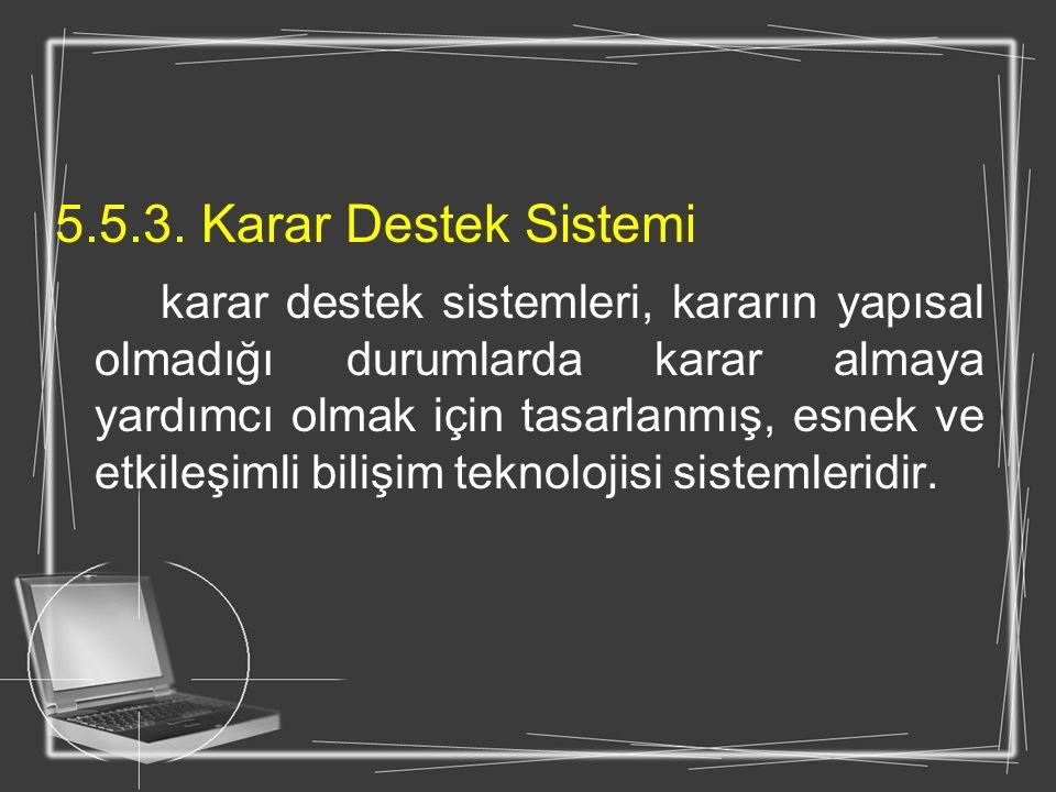5.5.3. Karar Destek Sistemi