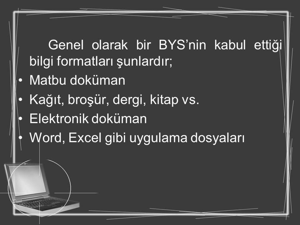 Genel olarak bir BYS'nin kabul ettiği bilgi formatları şunlardır;