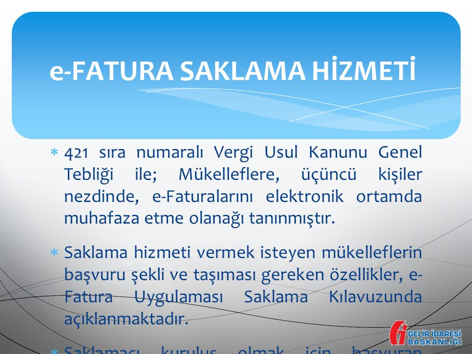 e-FATURA SAKLAMA HİZMETİ