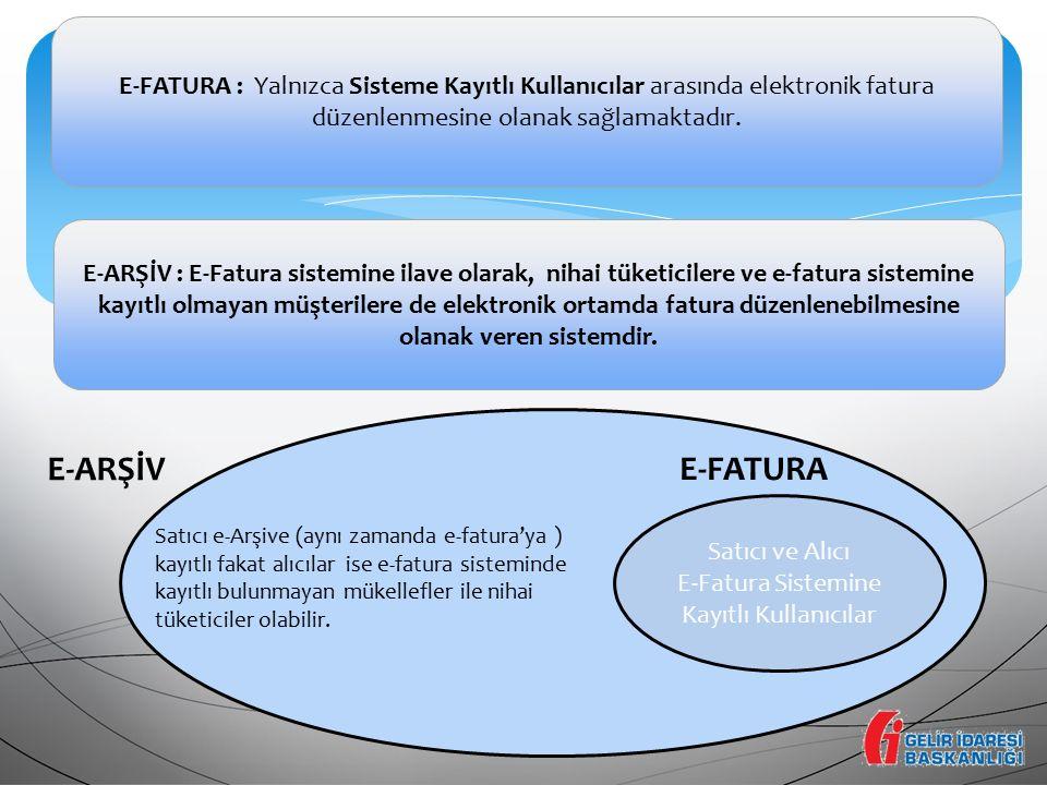 E-Fatura Sistemine Kayıtlı Kullanıcılar