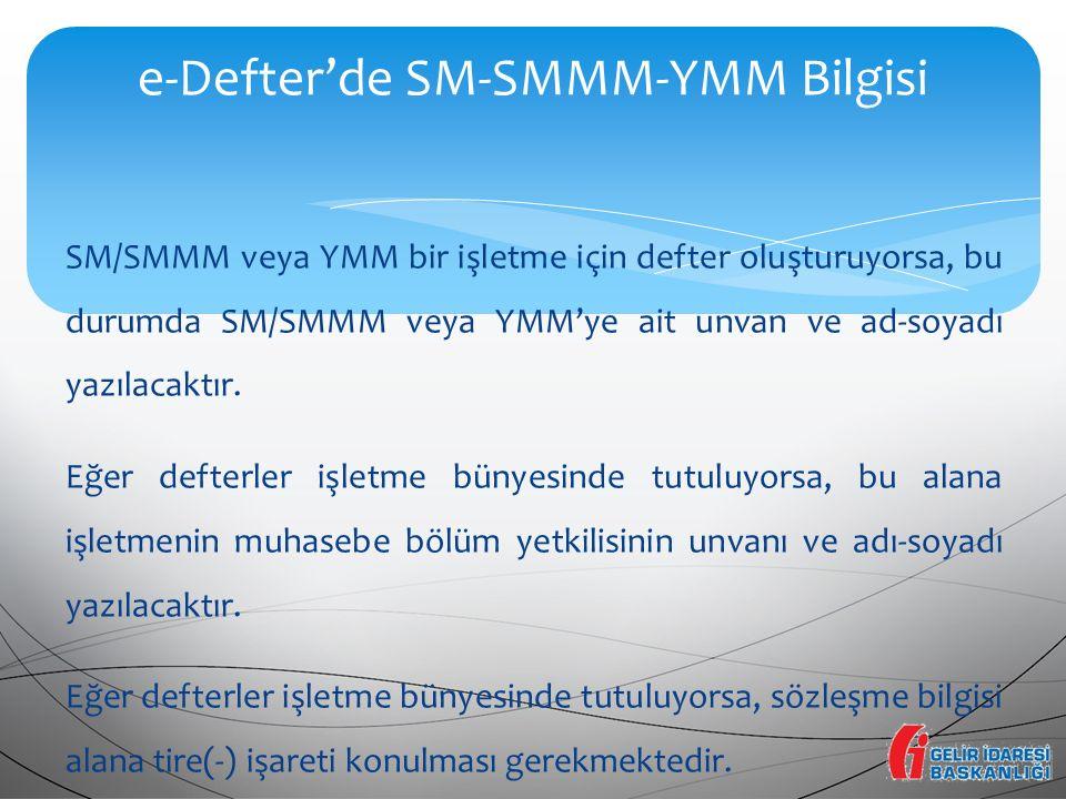 e-Defter'de SM-SMMM-YMM Bilgisi