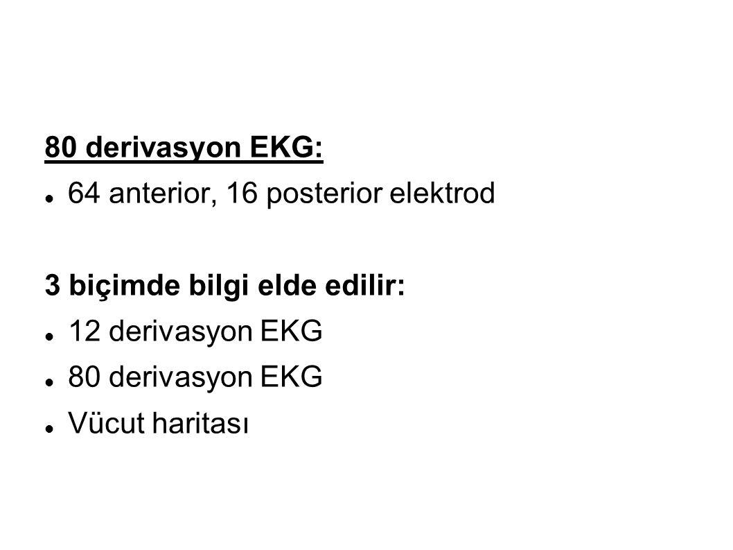 80 derivasyon EKG: 64 anterior, 16 posterior elektrod. 3 biçimde bilgi elde edilir: 12 derivasyon EKG.
