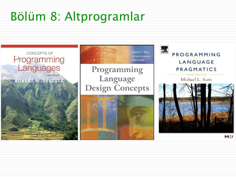 Bölüm 8: Altprogramlar