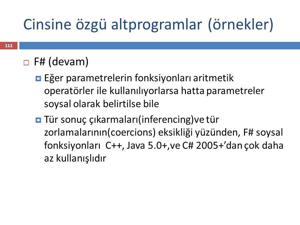 Cinsine özgü altprogramlar (örnekler)