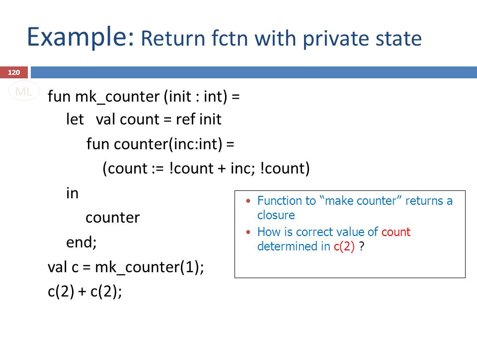 Example: Return fctn with private state