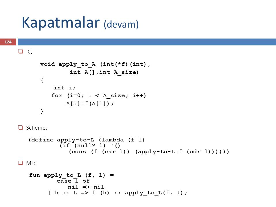 Kapatmalar (devam) C, void apply_to_A (int(*f)(int),