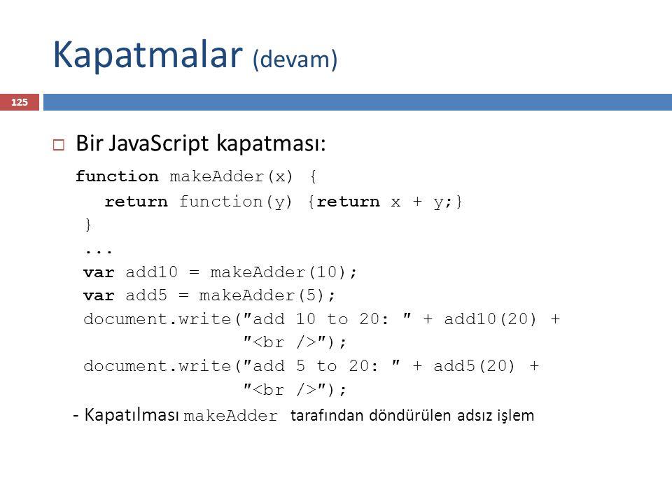 Kapatmalar (devam) Bir JavaScript kapatması: function makeAdder(x) {