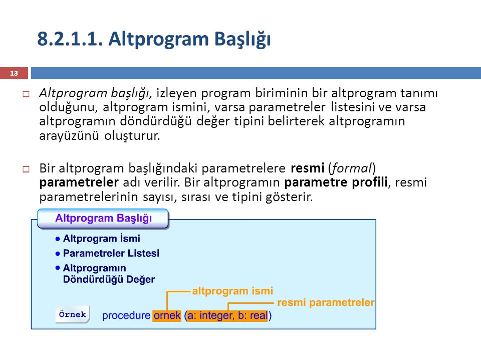 8.2.1.1. Altprogram Başlığı