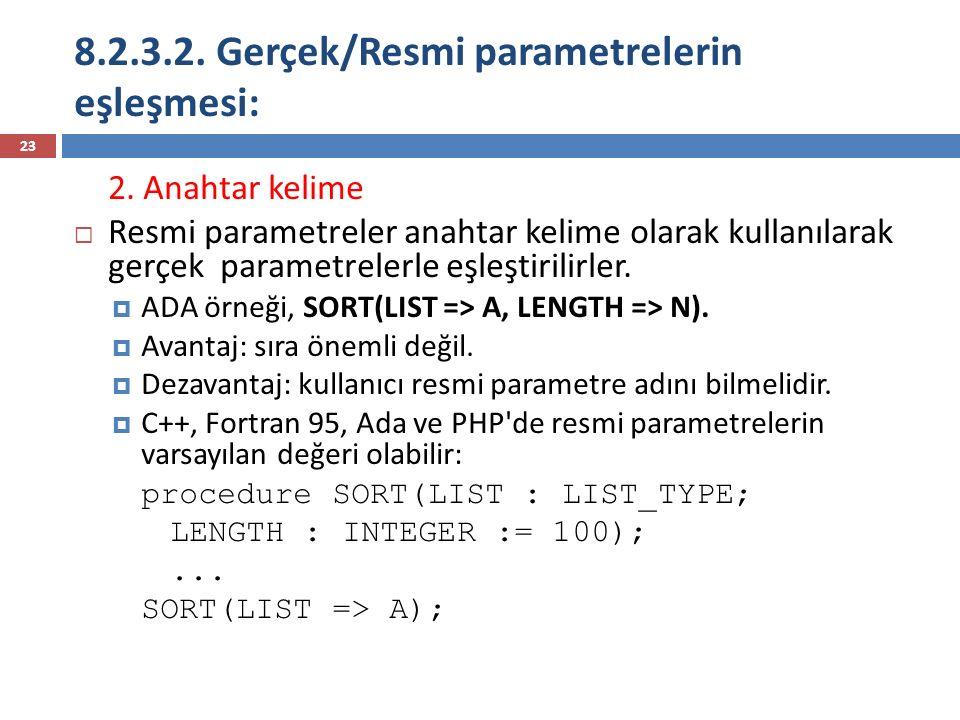 8.2.3.2. Gerçek/Resmi parametrelerin eşleşmesi: