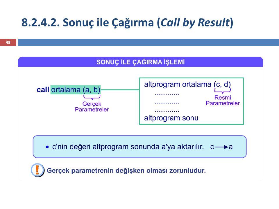 8.2.4.2. Sonuç ile Çağırma (Call by Result)