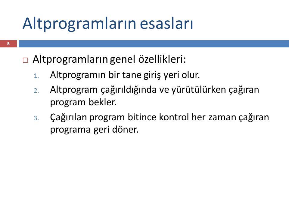 Altprogramların esasları