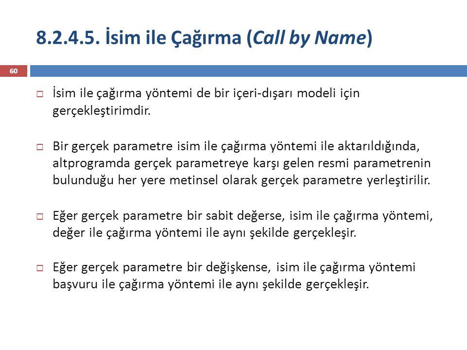 8.2.4.5. İsim ile Çağırma (Call by Name)