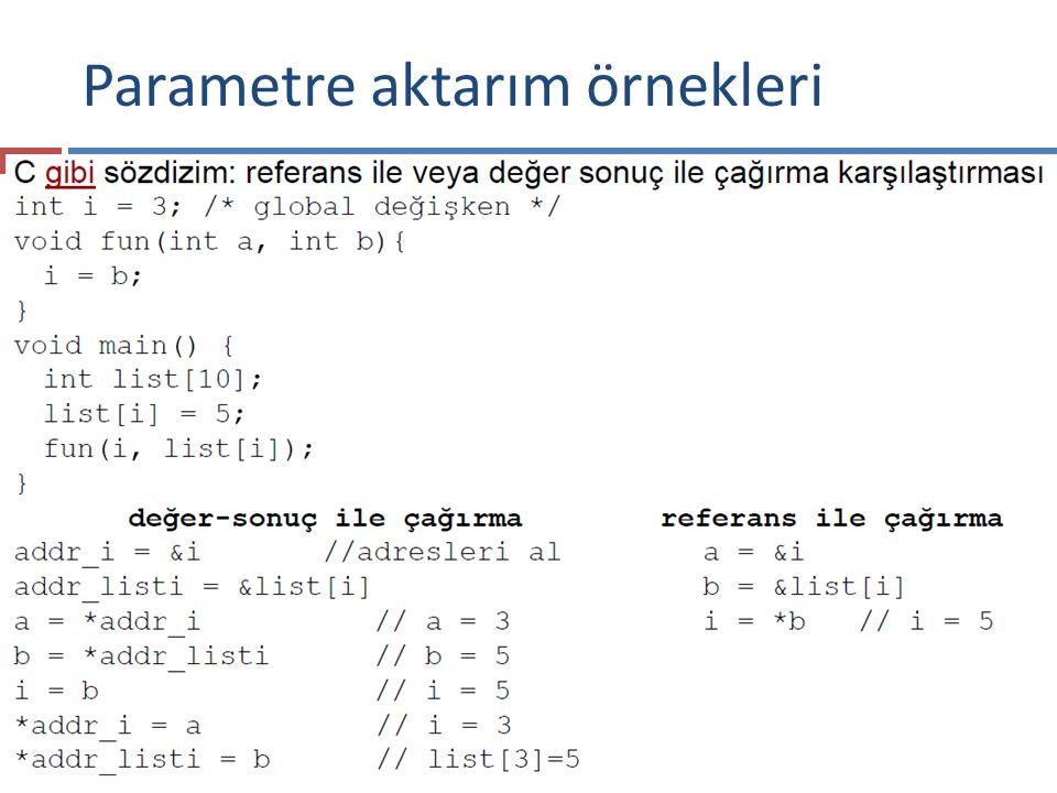 Parametre aktarım örnekleri