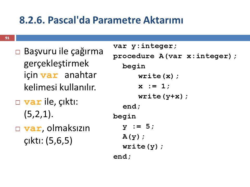 8.2.6. Pascal da Parametre Aktarımı