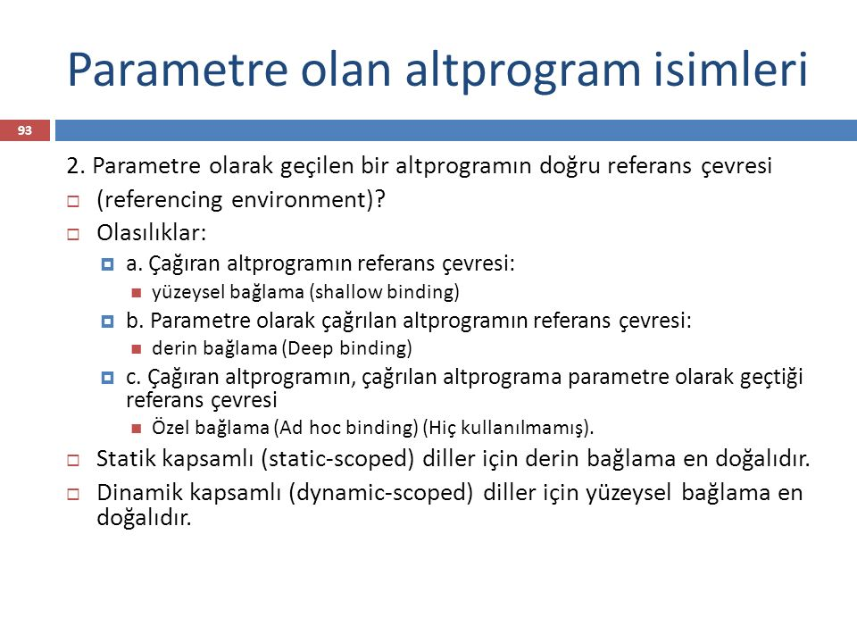 Parametre olan altprogram isimleri