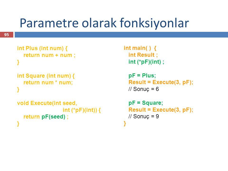 Parametre olarak fonksiyonlar