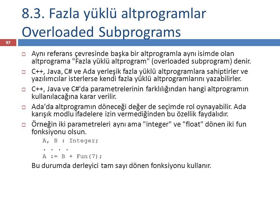 8.3. Fazla yüklü altprogramlar Overloaded Subprograms
