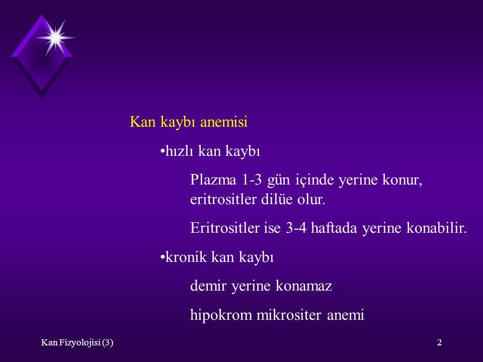 Plazma 1-3 gün içinde yerine konur, eritrositler dilüe olur.
