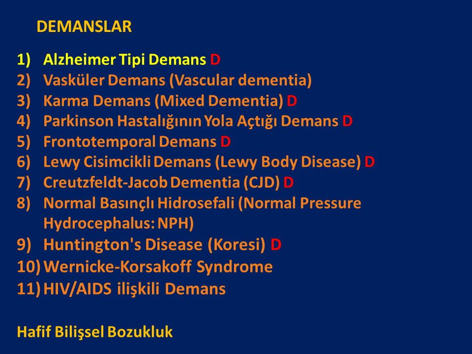 Huntington s Disease (Koresi) D Wernicke-Korsakoff Syndrome