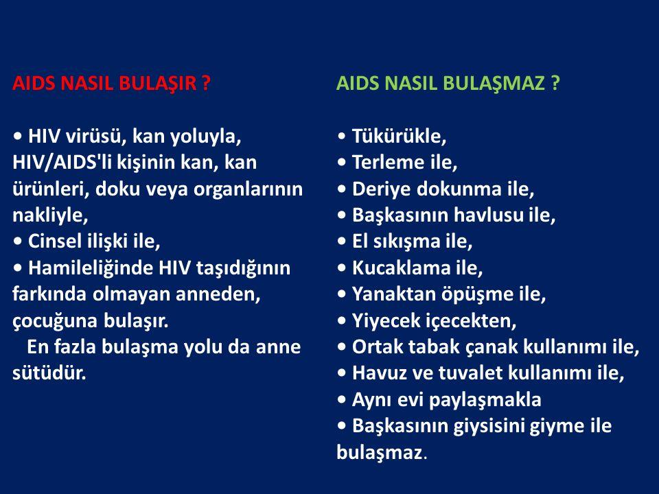 AIDS NASIL BULAŞIR • HIV virüsü, kan yoluyla, HIV/AIDS li kişinin kan, kan ürünleri, doku veya organlarının nakliyle,