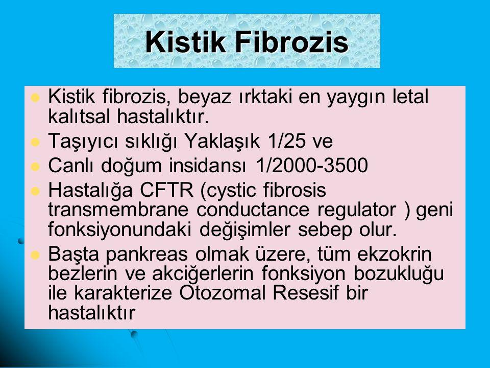 Kistik Fibrozis Kistik fibrozis, beyaz ırktaki en yaygın letal kalıtsal hastalıktır. Taşıyıcı sıklığı Yaklaşık 1/25 ve.