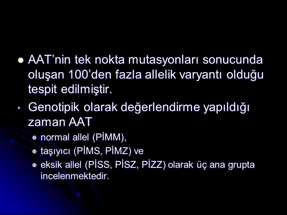 Genotipik olarak değerlendirme yapıldığı zaman AAT