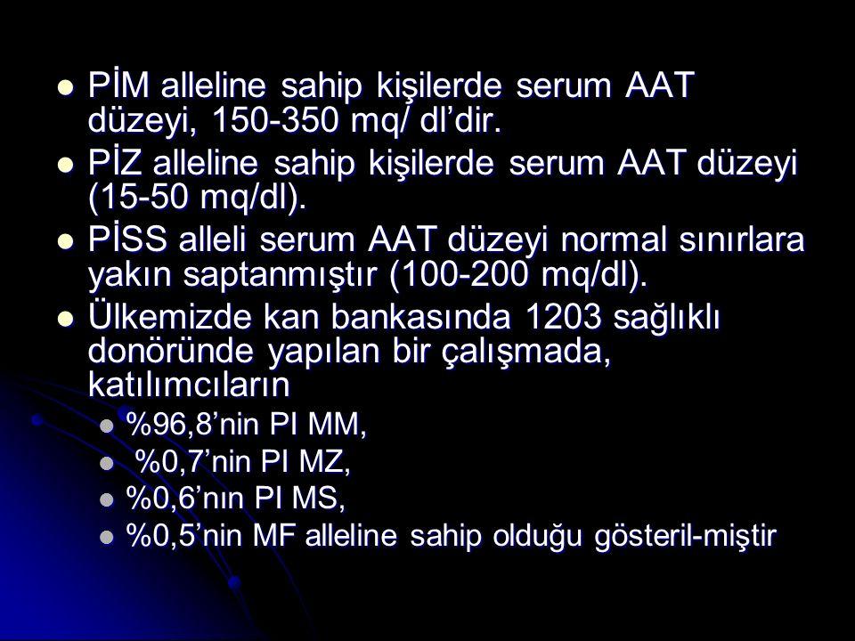PİM alleline sahip kişilerde serum AAT düzeyi, 150-350 mq/ dl'dir.