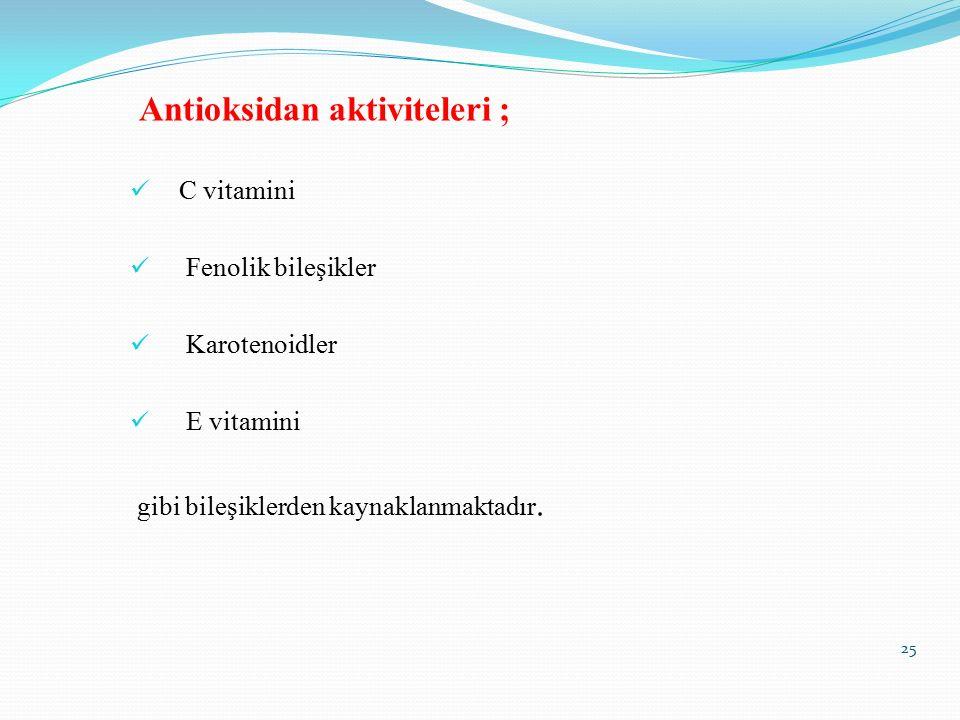 Antioksidan aktiviteleri ;