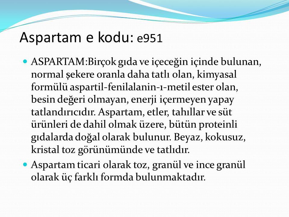 Aspartam e kodu: e951